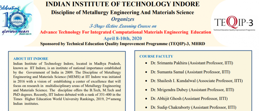 Advance Technology For Integrated Computational Materials Engineering Education
