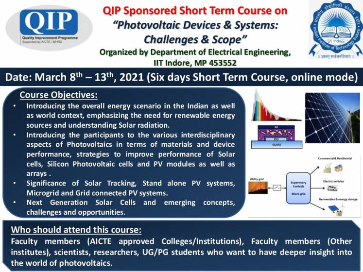 QIP Sponsored Short Term Course on