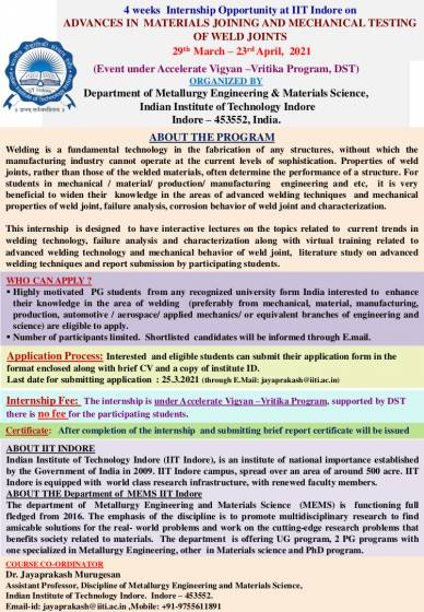 4 weeks Internship Opportunity at IIT Indore on