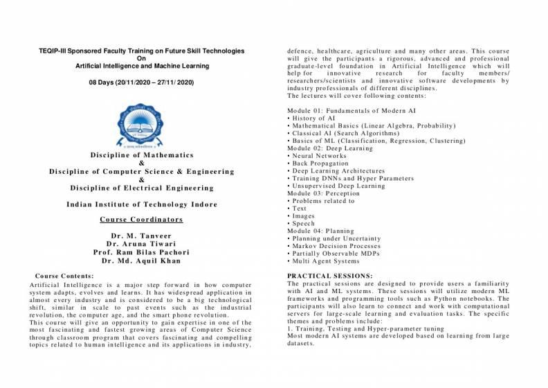 TEQIP-III Sponsored Faculty Training on Future Skill Technologies