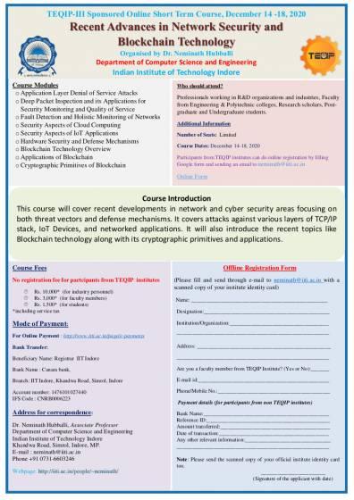 TEQIP-III Sponsored Online Short Term Course