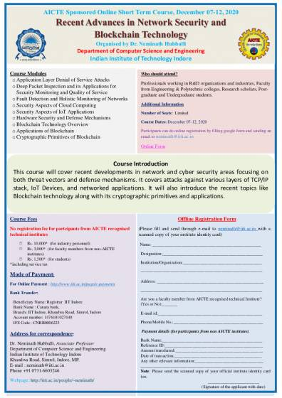 AICTE Sponsored Online Short Term Course