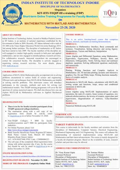 KIT-IITI-TEQIP-III e-training (FDP) Short-term Online Training Programme for Faculty Members